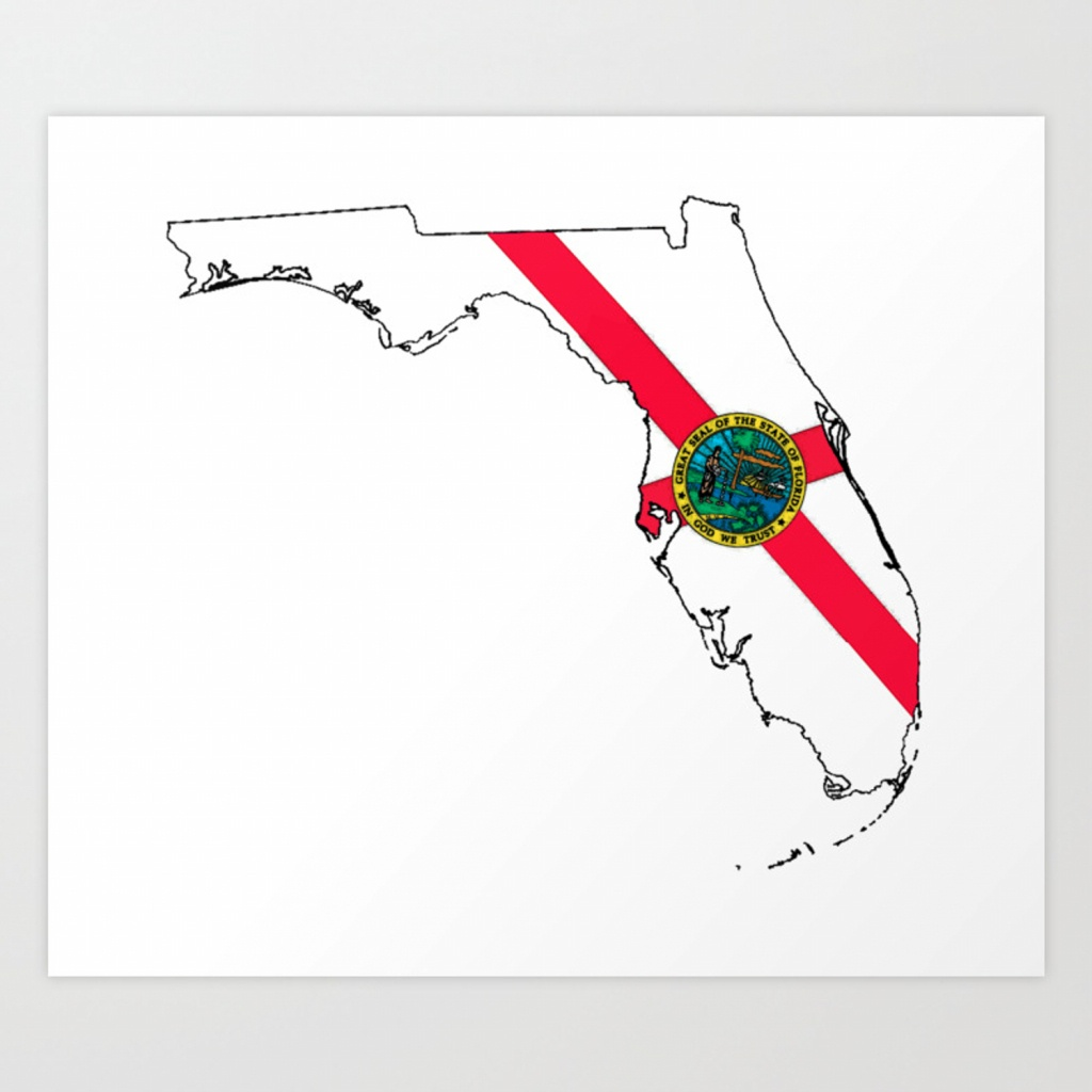 Florida Map With Florida State Flag Art Printhavocgirl | Society6 - Florida Map Art