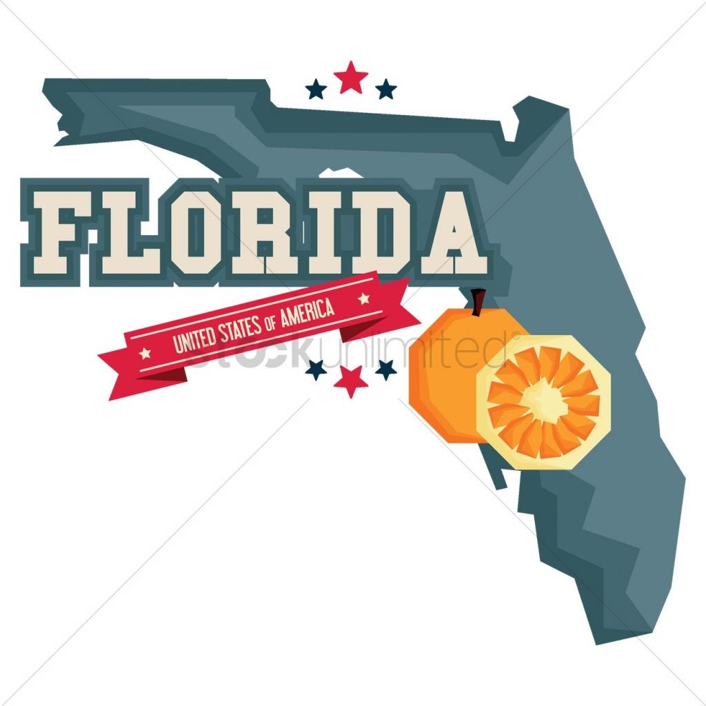 Florida Map With Orange Vector Image - 1541167 | Stockunlimited - Orange Florida Map