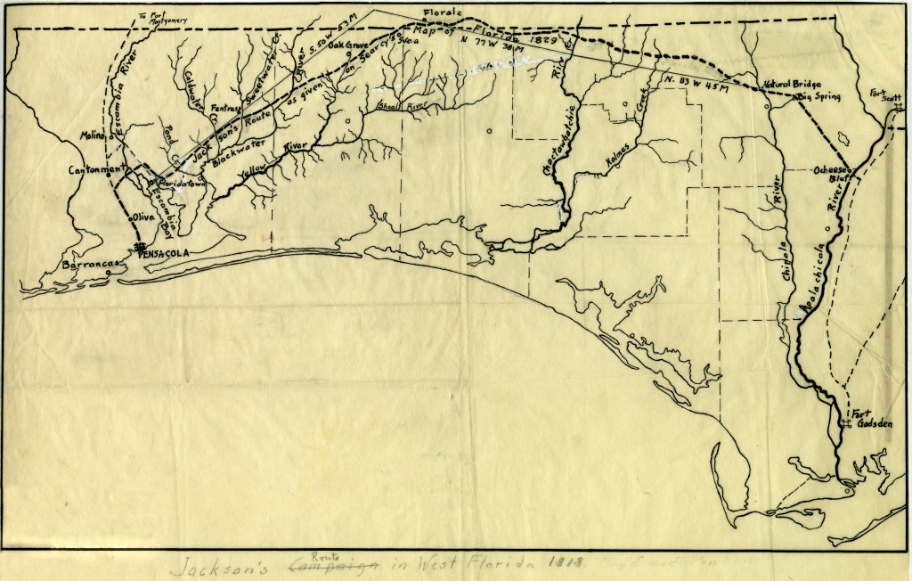 Florida Memory - Map Of Andrew Jackson's Route In West Florida, 1818 - Coldwater Creek Florida Map
