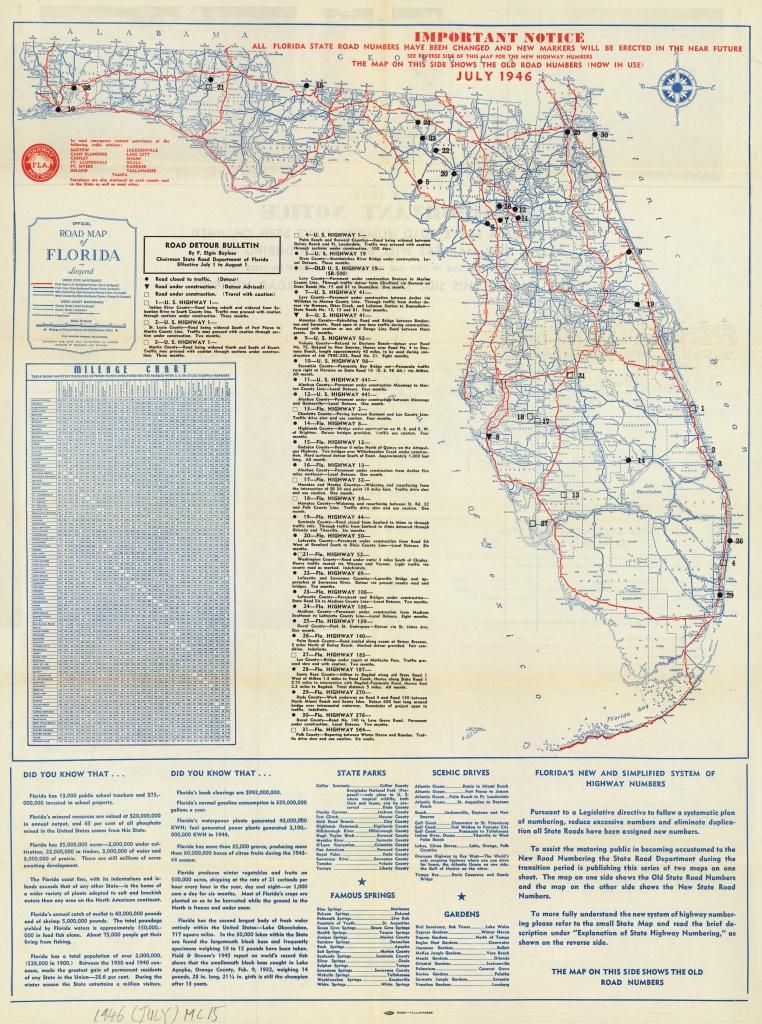 Florida Memory - Official Road Map Of Florida, 1946 - Carrabelle Island Florida Map