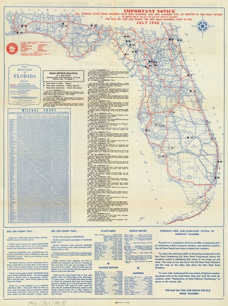 Florida Memory - Official Road Map Of Florida, 1946 - Howey In The Hills Florida Map