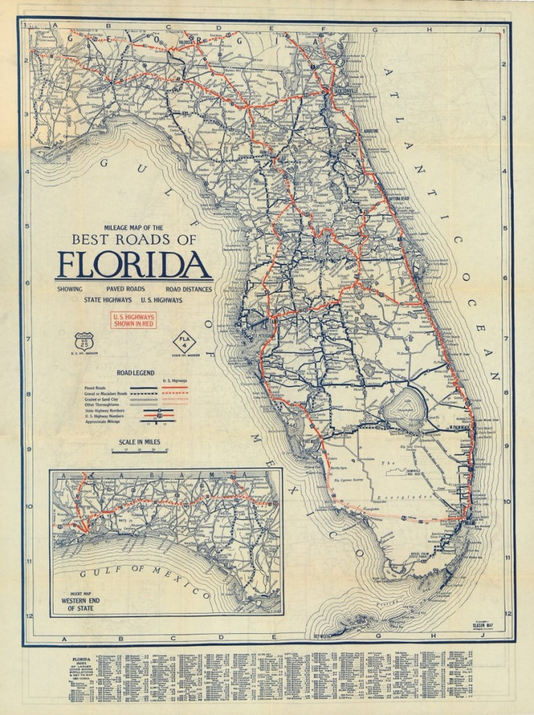 "Florida Memory On Twitter: ""a Circa 1927 Mileage Map Of The Best - State Of Florida Map Mileage"