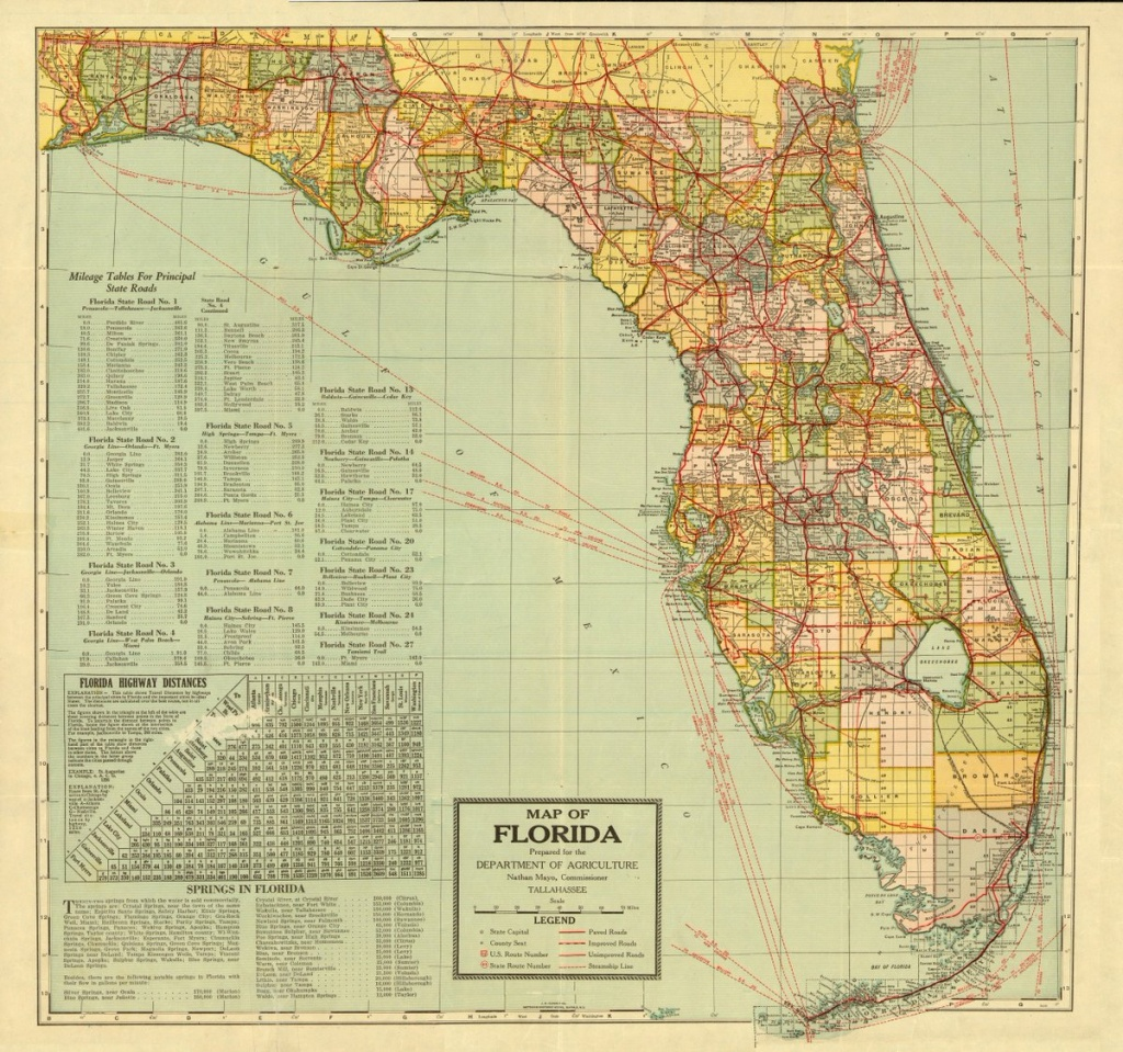 "Florida Memory On Twitter: ""a Map Of The Sunshine State Prepared For - State Of Florida Map Mileage"