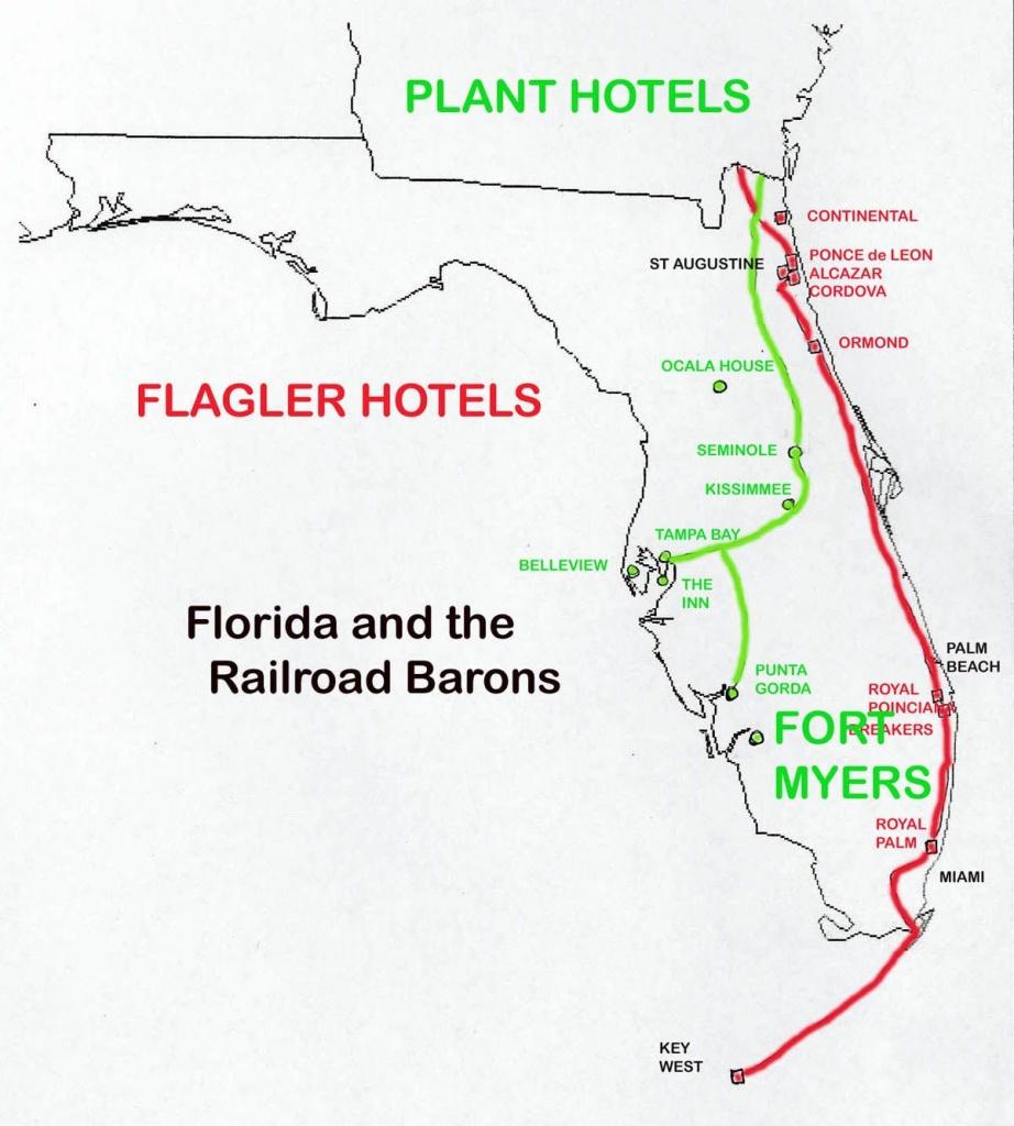 Florida Railroads In 1880-1900:   Railway Maps   Railroad Pictures - Florida Railroad Map