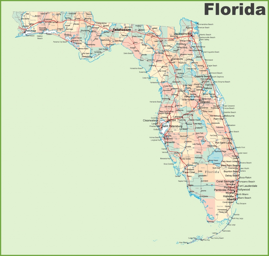 Florida Road Map With Cities And Towns - Florida St Map