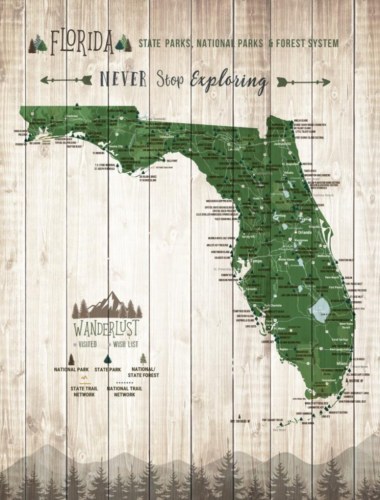 Florida State Gift State Parks Map Florida Wall Art State   Etsy - Florida State Parks Map