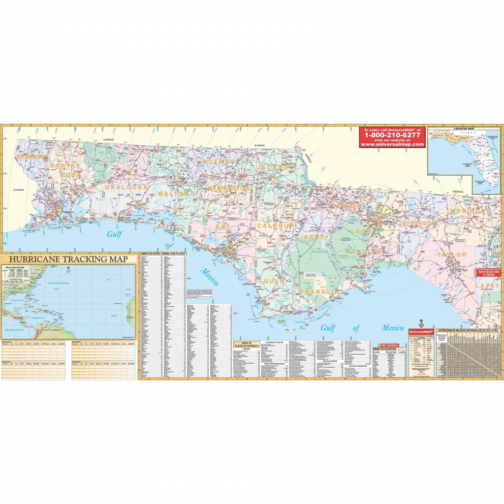 Florida State Northwest Regional Wall Map - The Map Shop - Florida Wall Map