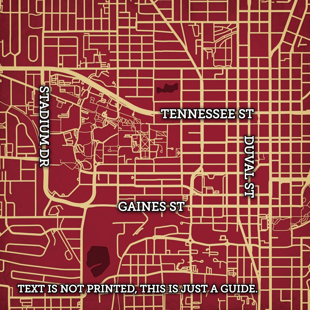 Florida State University Campus Map Art - City Prints - Florida State University Map