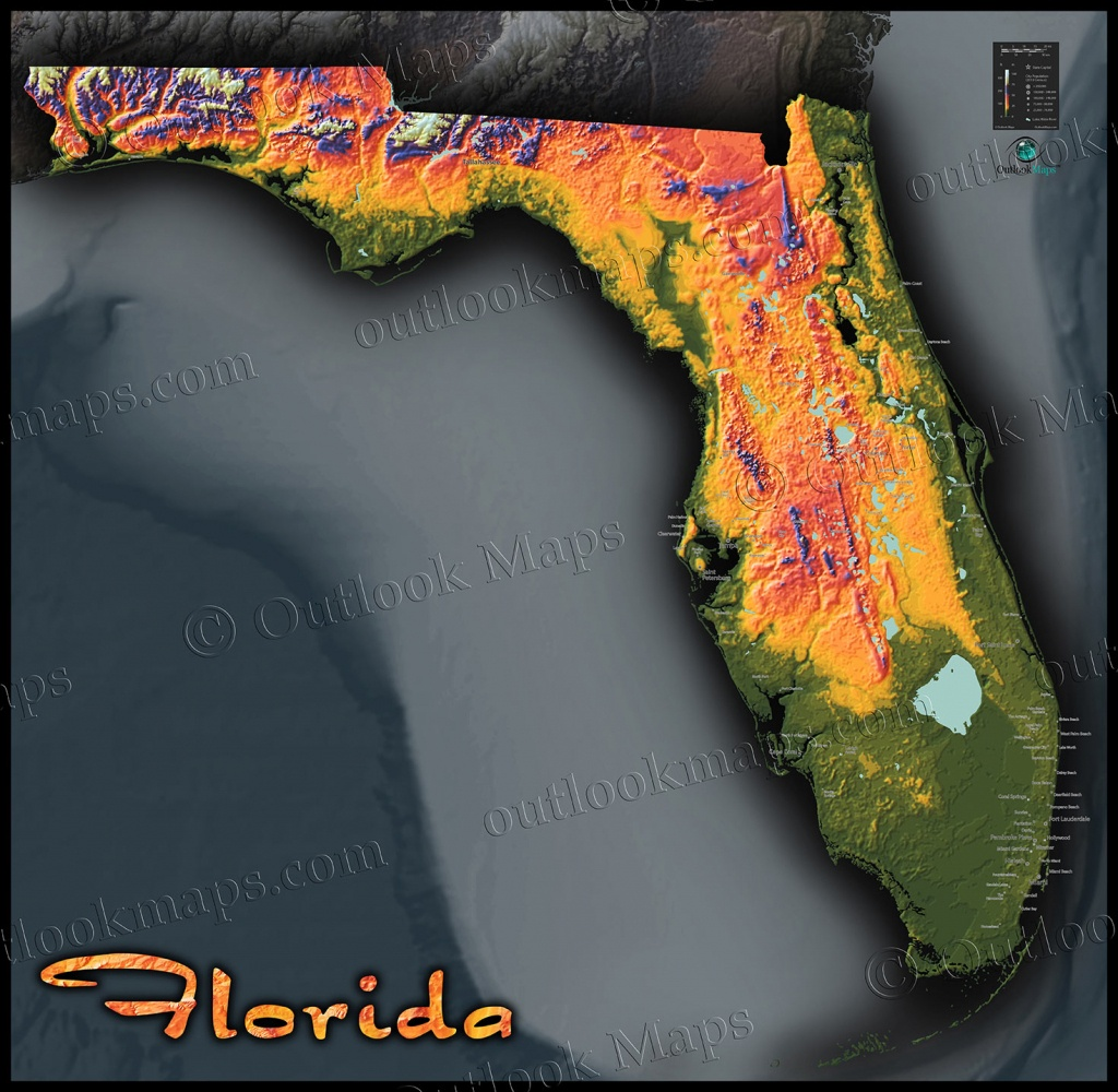 Florida Topography Map | Colorful Natural Physical Landscape - Topographic Map Of Florida Elevation