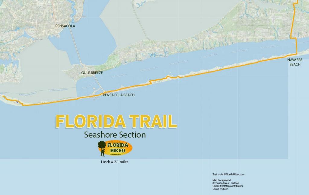Florida Trail, Seashore   Florida Hikes! - Navarre Florida Map