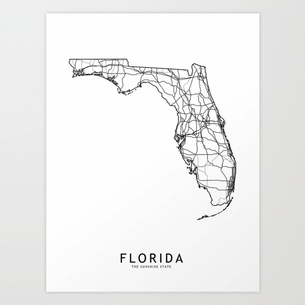 Florida White Map Art Printmultiplicity   Society6 - Florida Map Artwork