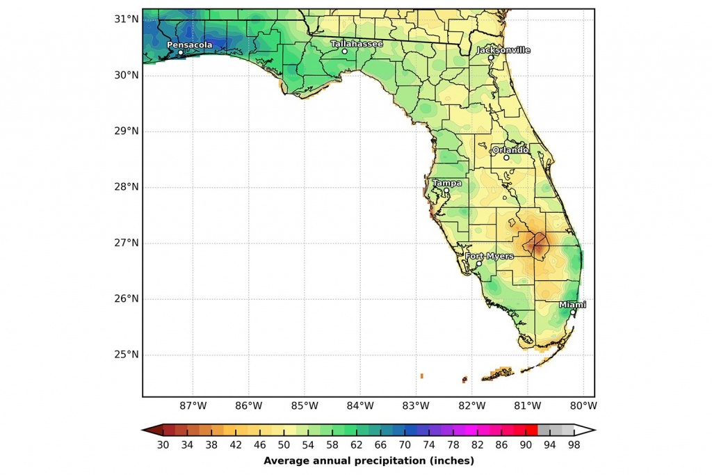 Florida's Climate And Weather - Florida Weather Map With Temperatures