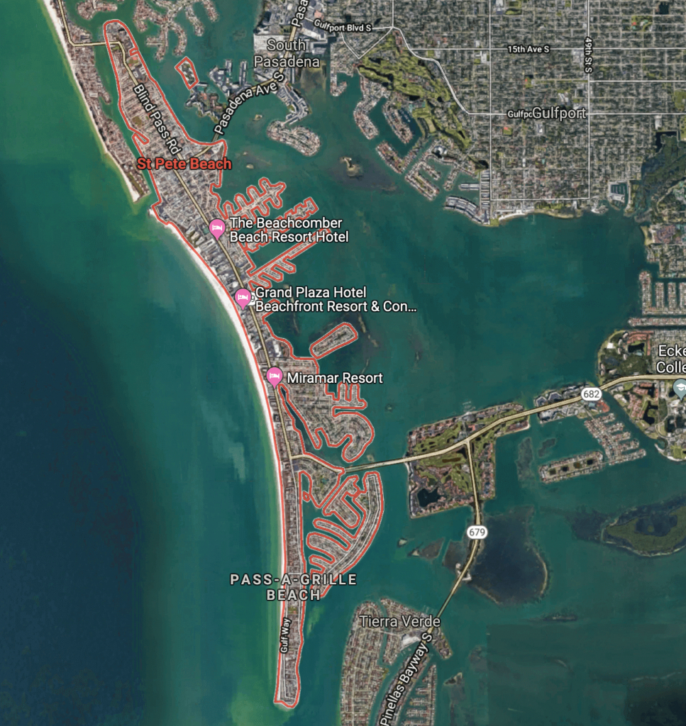 Florida's Hidden Gem Beaches: Fort De Soto Park And St. Pete Beach - Google Maps St Pete Beach Florida