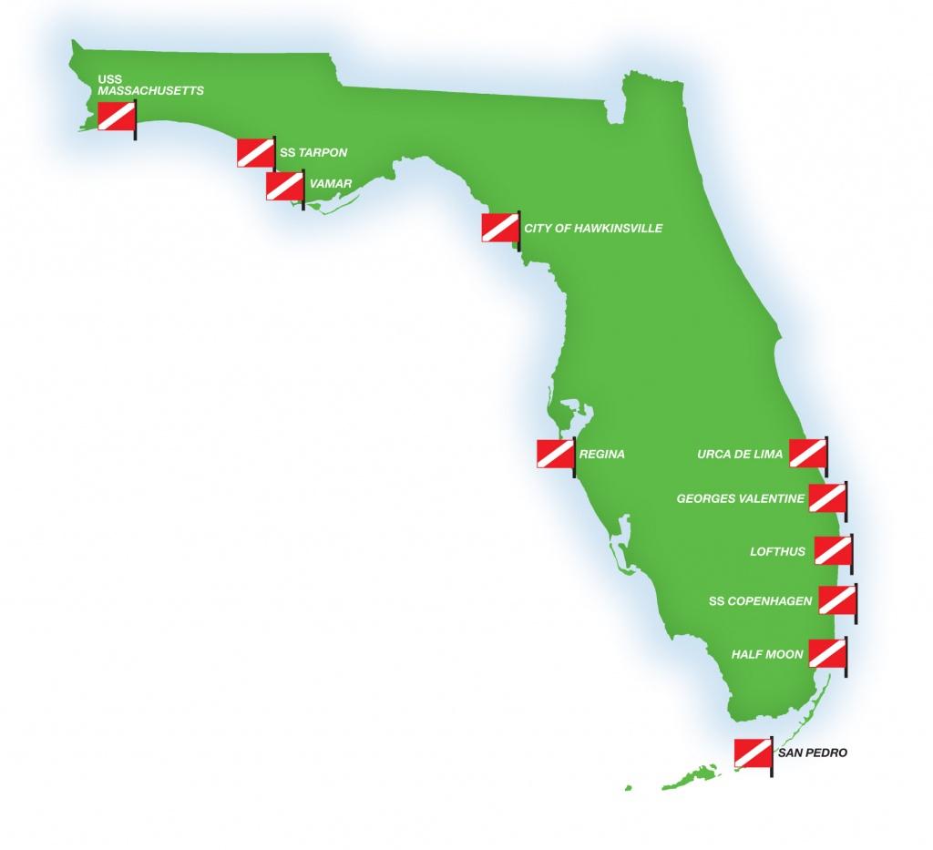 Florida's Shipwrecks: Museums In The Sea - Diver Magazine - Florida Wreck Diving Map