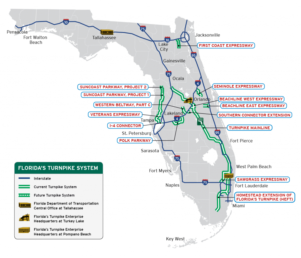 Florida's Turnpike - The Less Stressway - Current Map Of Florida