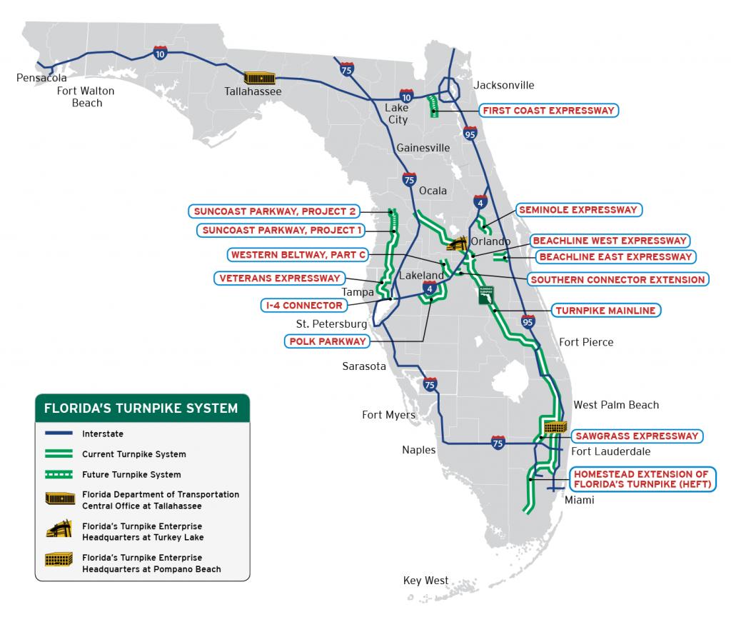 Florida's Turnpike - The Less Stressway - Palm Beach Gardens Florida Map