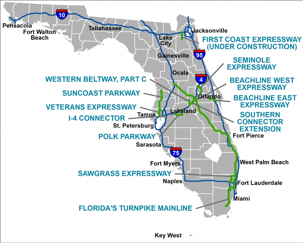 Florida's Turnpike - The Less Stressway - Road Map Of North Florida