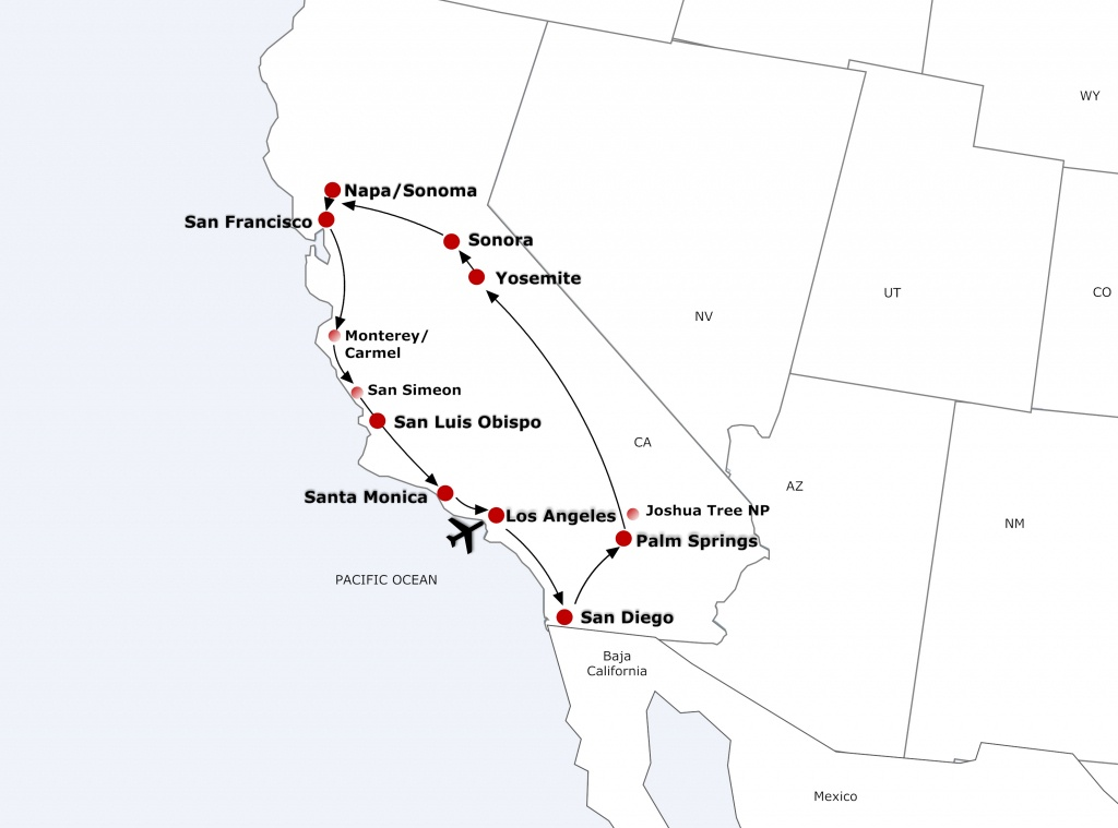 Fly Drive Tours - Best Western California Map