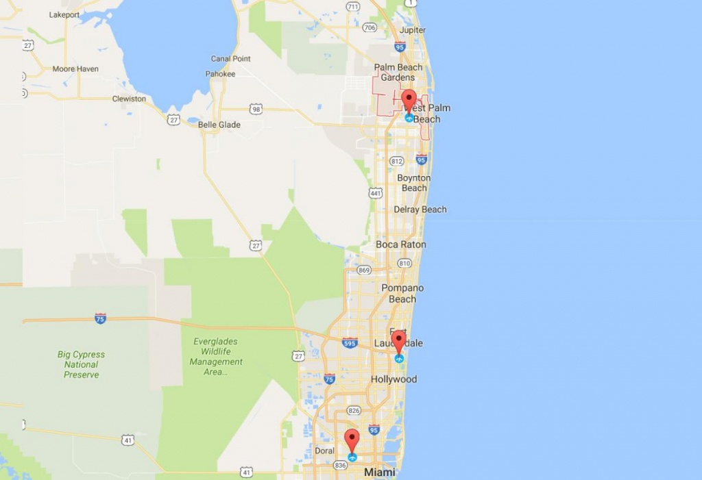 Fly To The Palm Beaches | The Palm Beaches Florida - Florida Airports Map