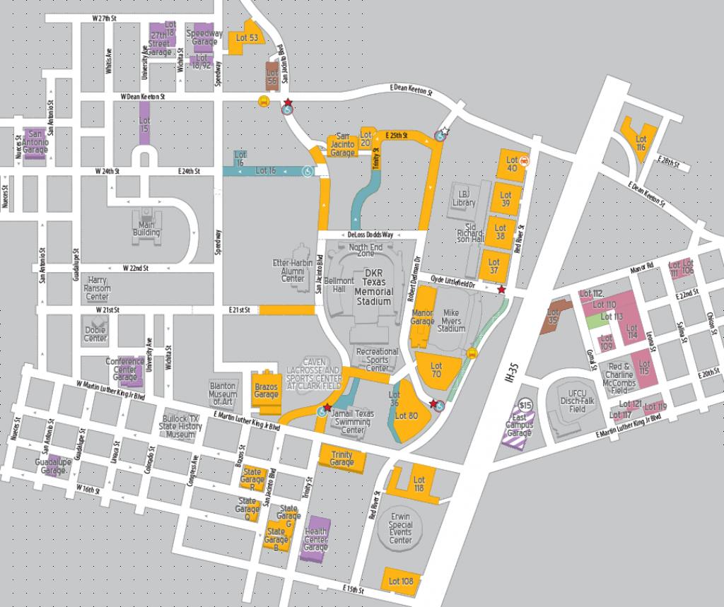 Football Parking 2018 | Parking & Transportation | The University Of - University Of Texas Football Stadium Map