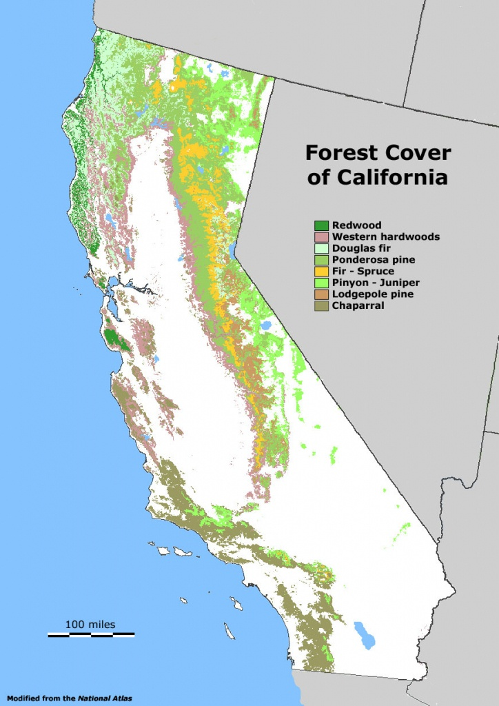 Forest Cover Map Of California [871 × 1232] : Mapporn - Where Is The Redwood Forest In California On A Map