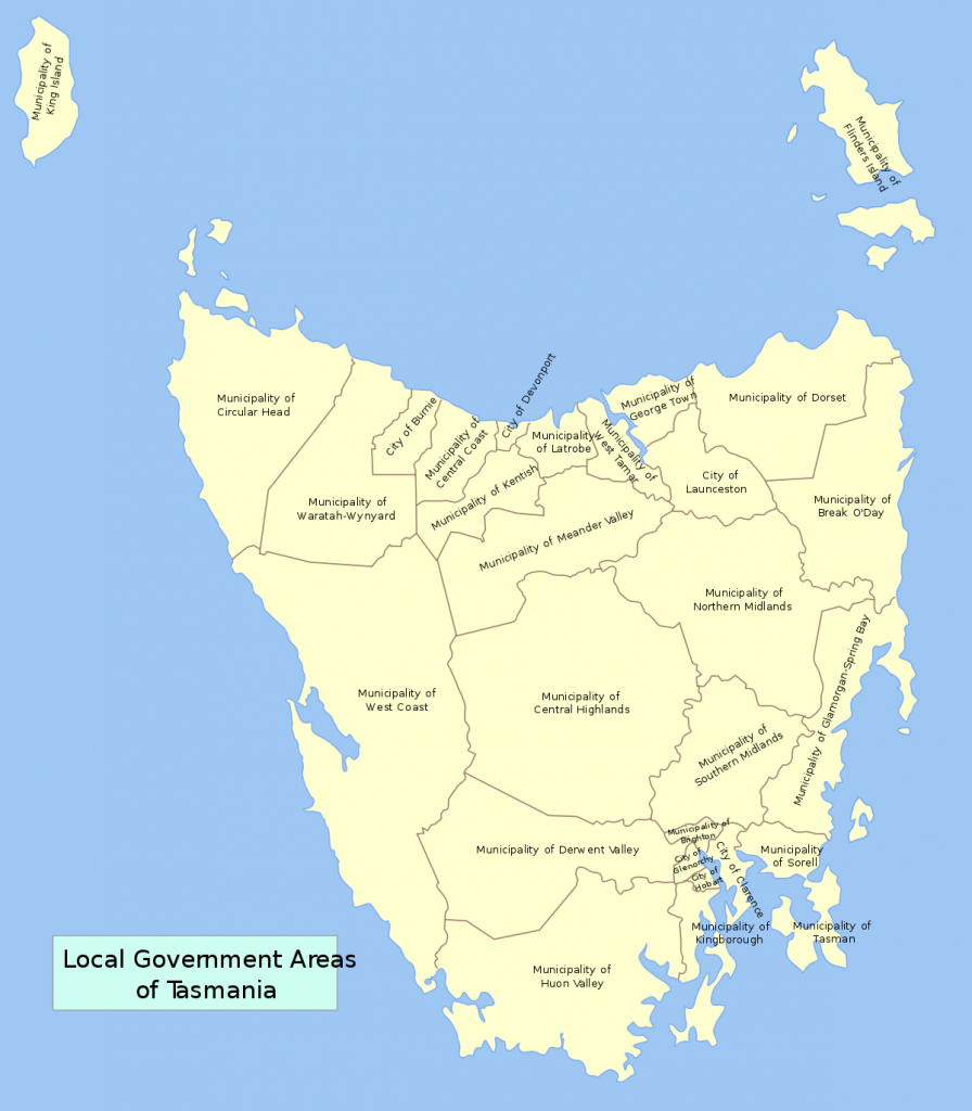 Former Local Government Areas Of Tasmania - Wikipedia - Printable Map Of Tasmania