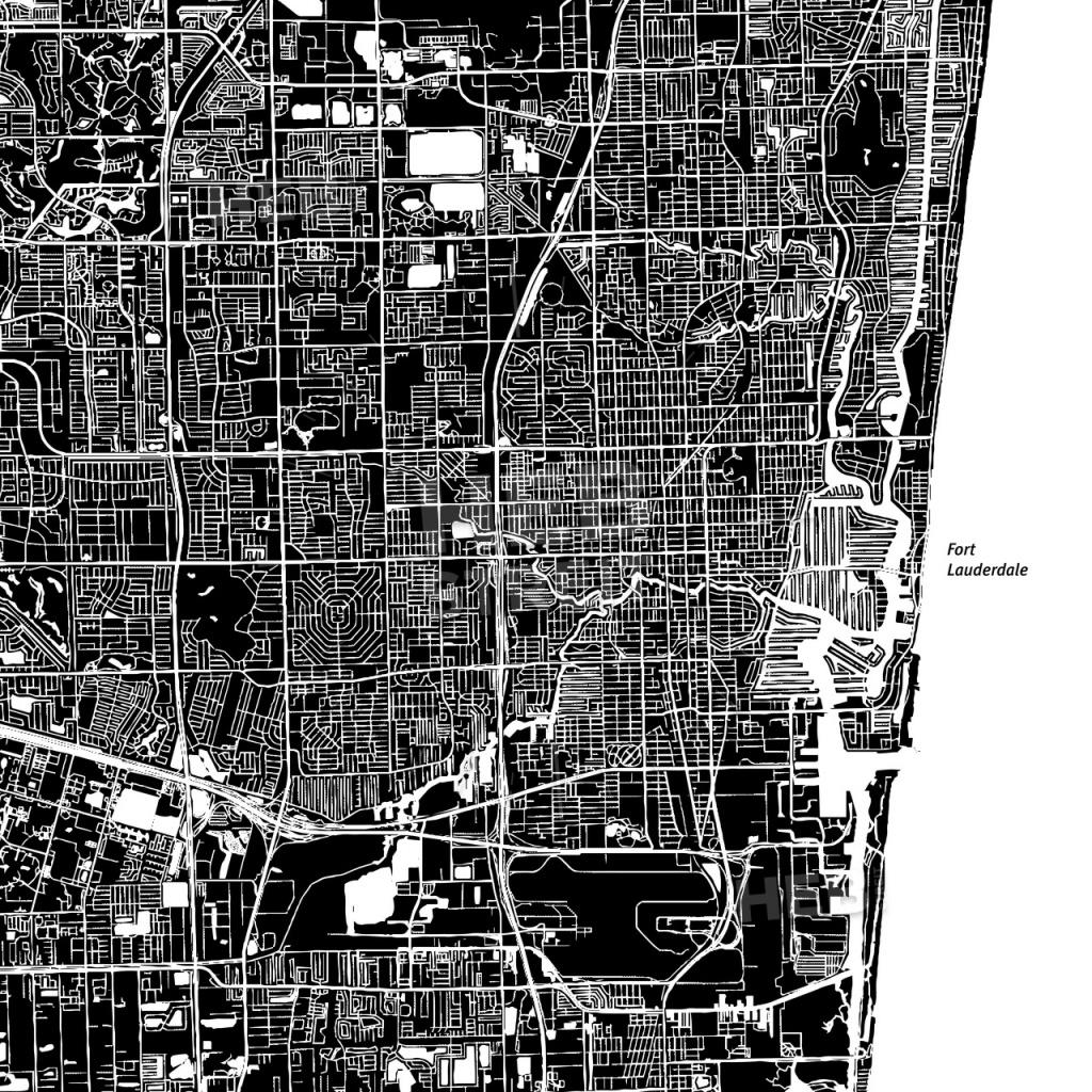 Fort Lauderdale, Florida, Downtown Map, Dark   Hebstreits Sketches - Street Map Of Fort Lauderdale Florida