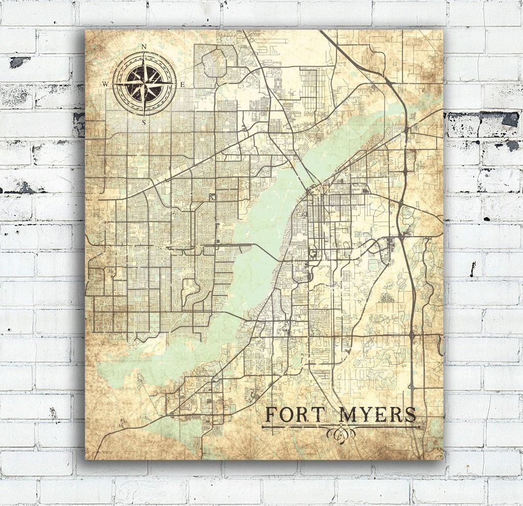 Fort Myers Fl Canvas Print Florida Vintage Map Fort Myers Vintage - Map Of Fort Myers Florida Area
