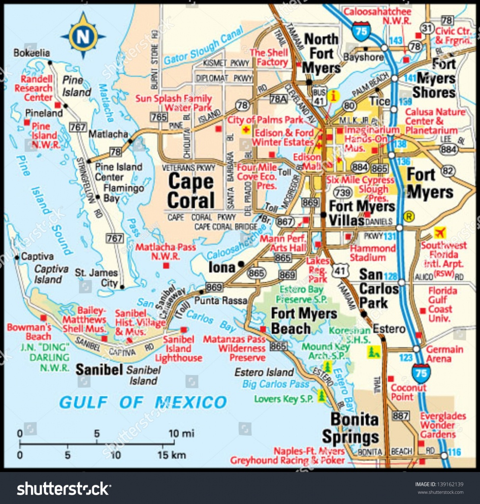 Fort Myers Florida Area Map Image Vectorielle De Stock (Libre De - Map Of Fort Myers Florida Area