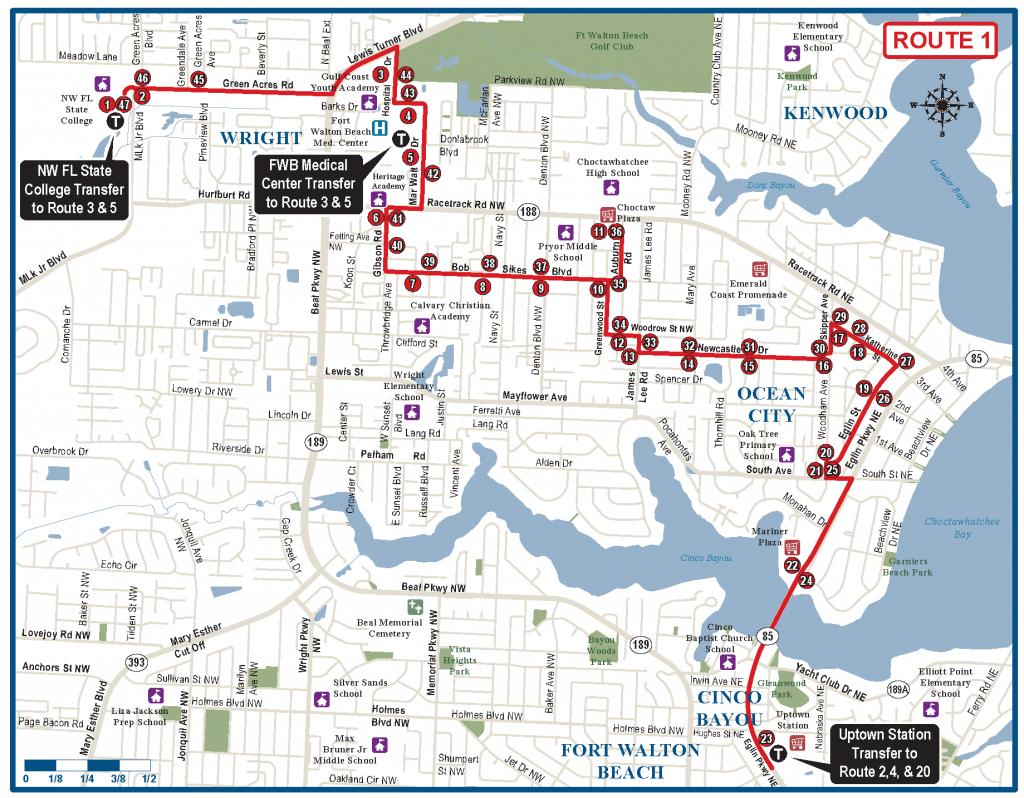 Fort Walton Beach Route 1 - Ec Rider - Ft Walton Florida Map