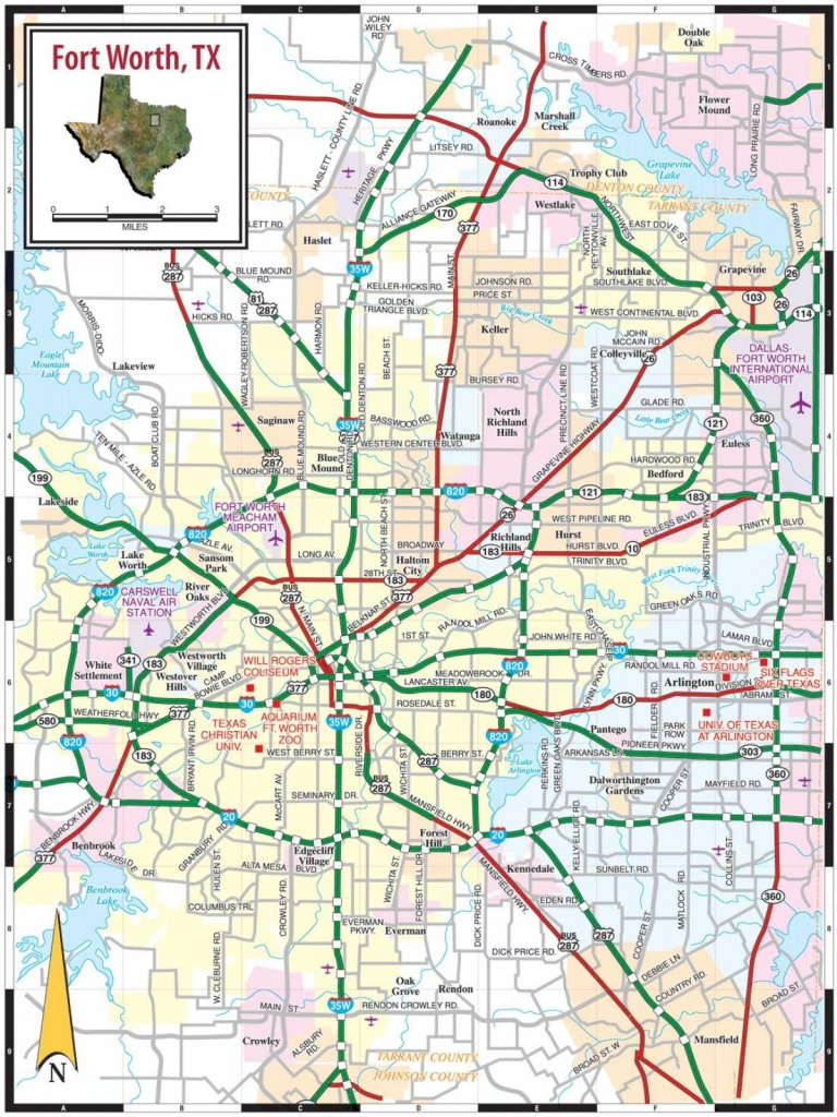 Fort Worth Area Map - Map Of Fort Worth Texas Area (Texas - Usa) - Map Of Fort Worth Texas Area