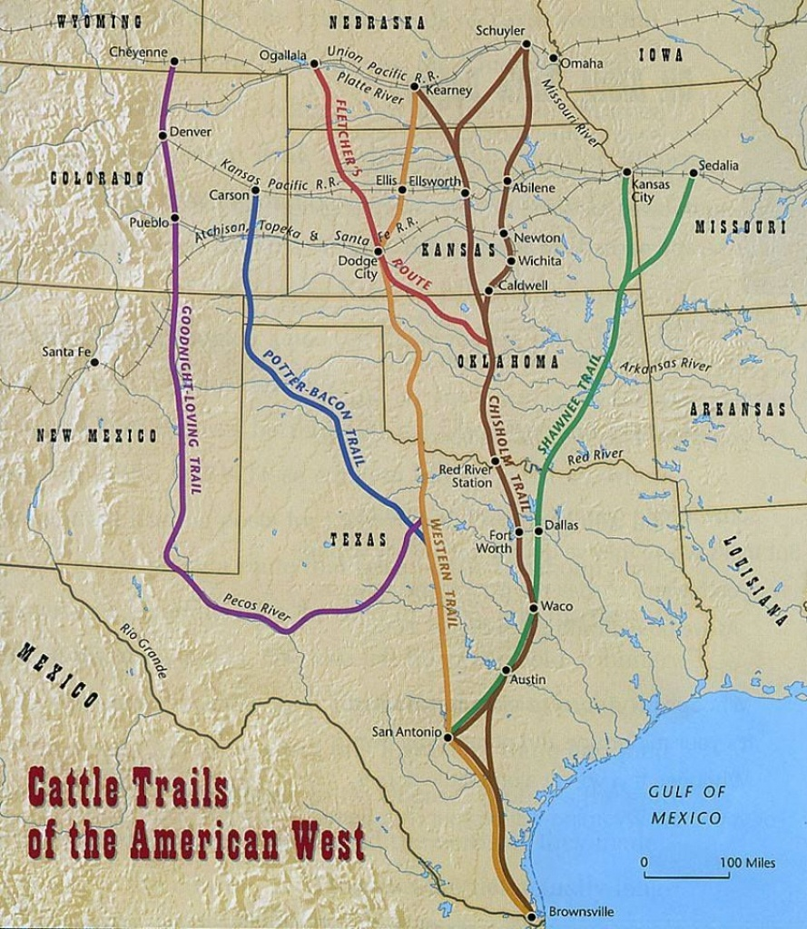 Found This 1870 Map Of The Cattle Trails Of The West   Cowboys Have - Adobe Walls Texas Map