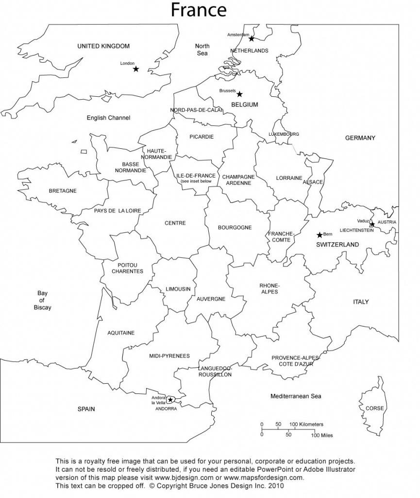 France Blank Printable Map With Provinces, Royalty Free, Clip Art - Map Of France Outline Printable