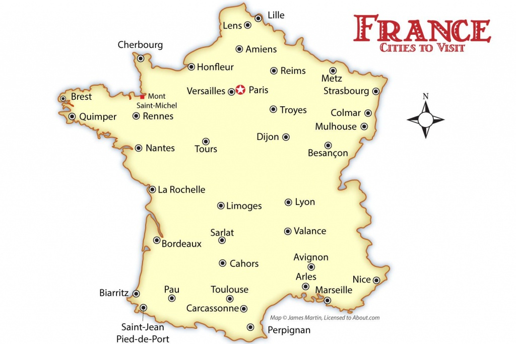 France Cities Map And Travel Guide - Printable Map Of France With Cities