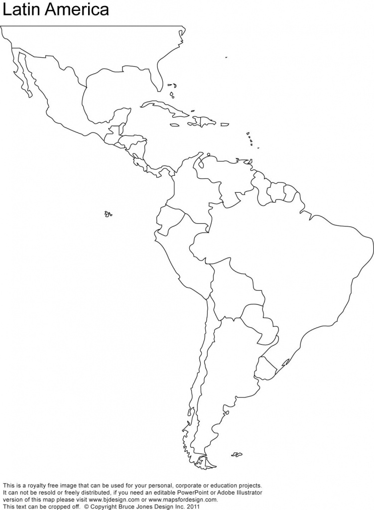 Free Blank Map Of North And South America | Latin America Printable - South America Outline Map Printable