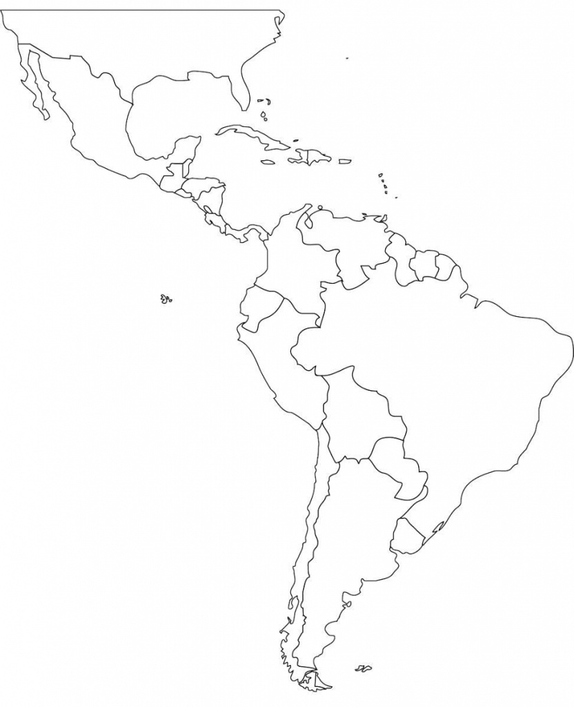 Free Blank Map Of North And South America Latin Printable In For 2 - South America Outline Map Printable