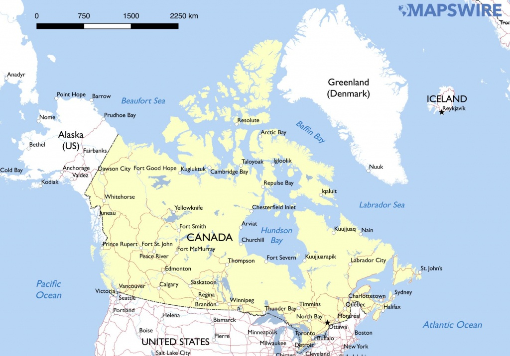 Free Maps Of Canada – Mapswire - Printable Map Of Canada With Cities