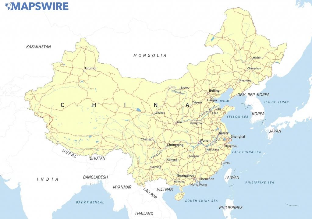 Free Maps Of China – Mapswire - Printable Map Of China