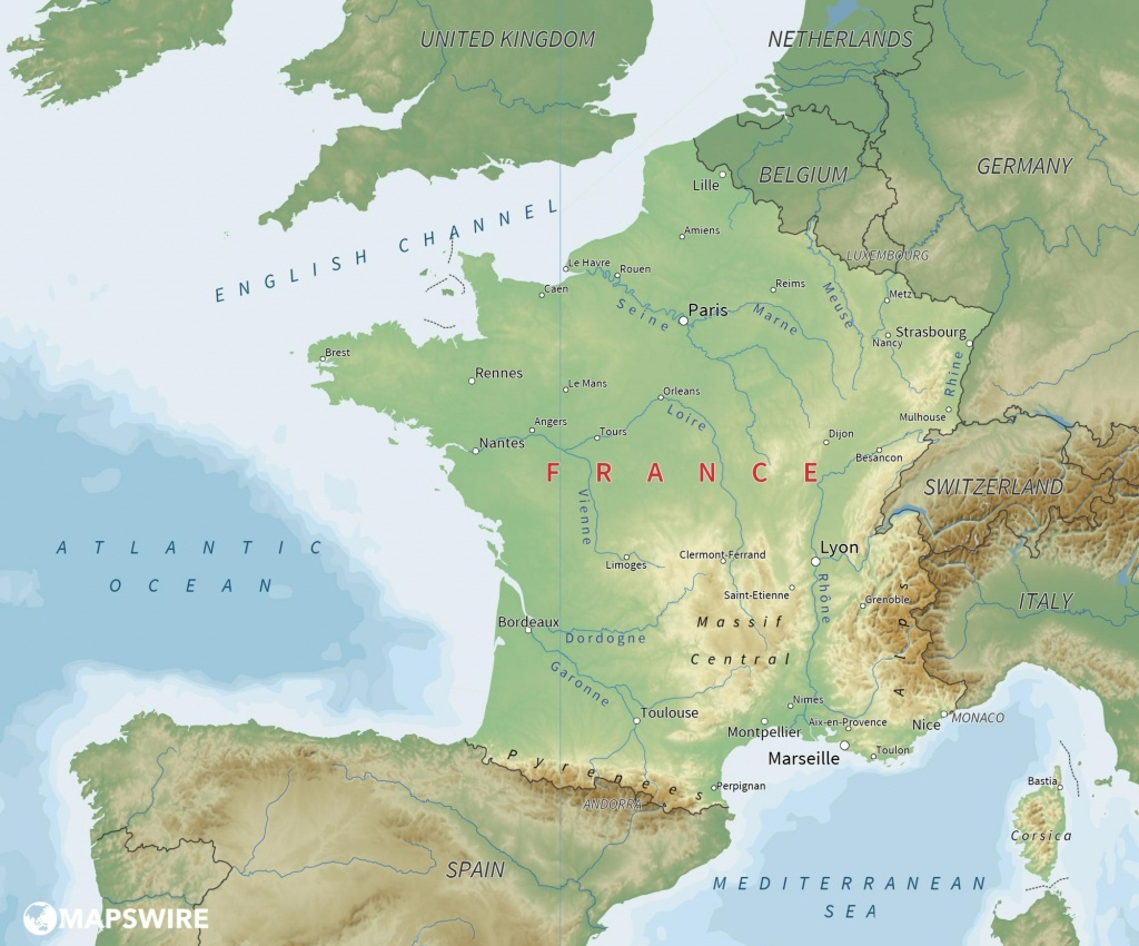 Free Maps Of France – Mapswire - Printable Map Of France With Cities