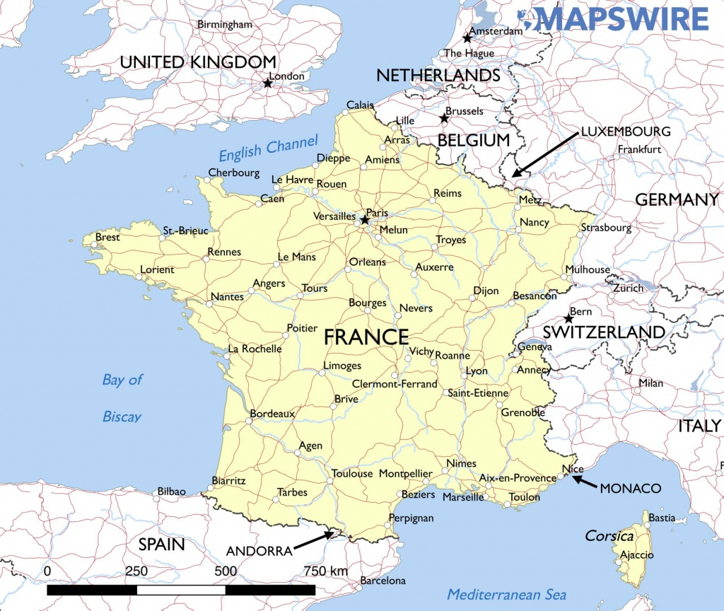 Free Maps Of France – Mapswire - Printable Road Map Of France