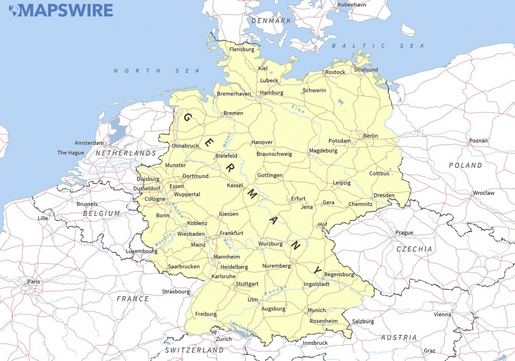 Free Maps Of Germany – Mapswire - Printable Map Of Germany