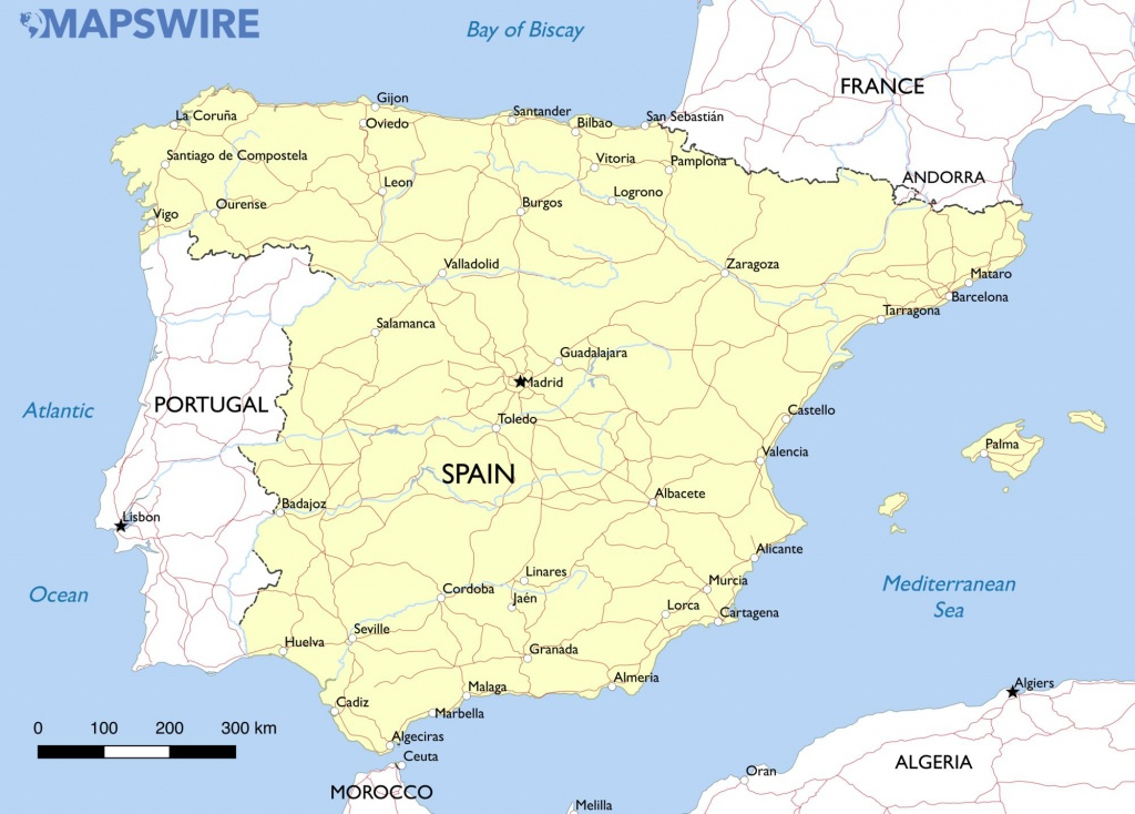 Free Maps Of Spain – Mapswire - Printable Map Of Spain