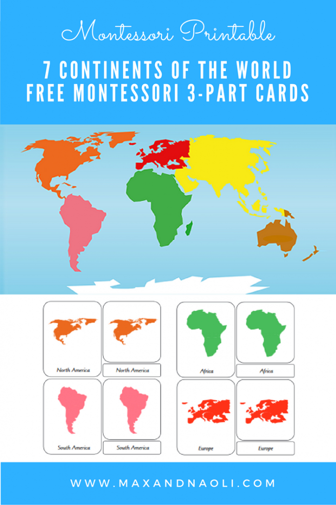 Free-Montessori-Printable-7-Continents-Of-The-World-3-Part - Montessori World Map Printable
