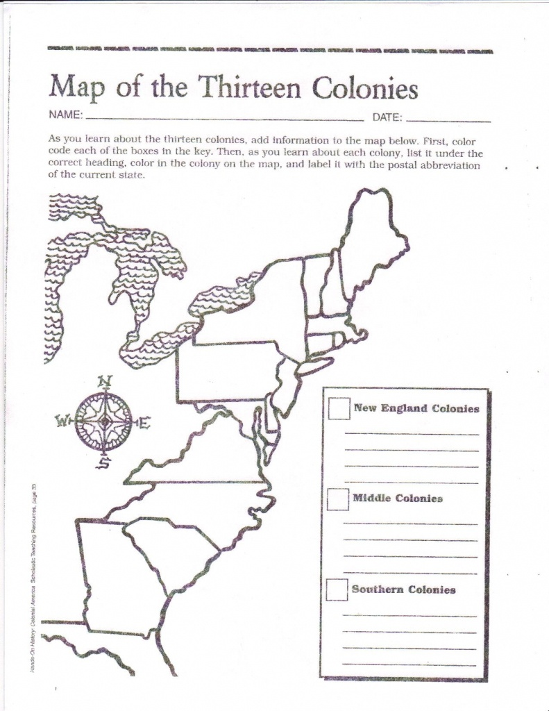 Free Printable 13 Colonies Map …   Activities   7Th G… - Map Of The Thirteen Colonies Printable