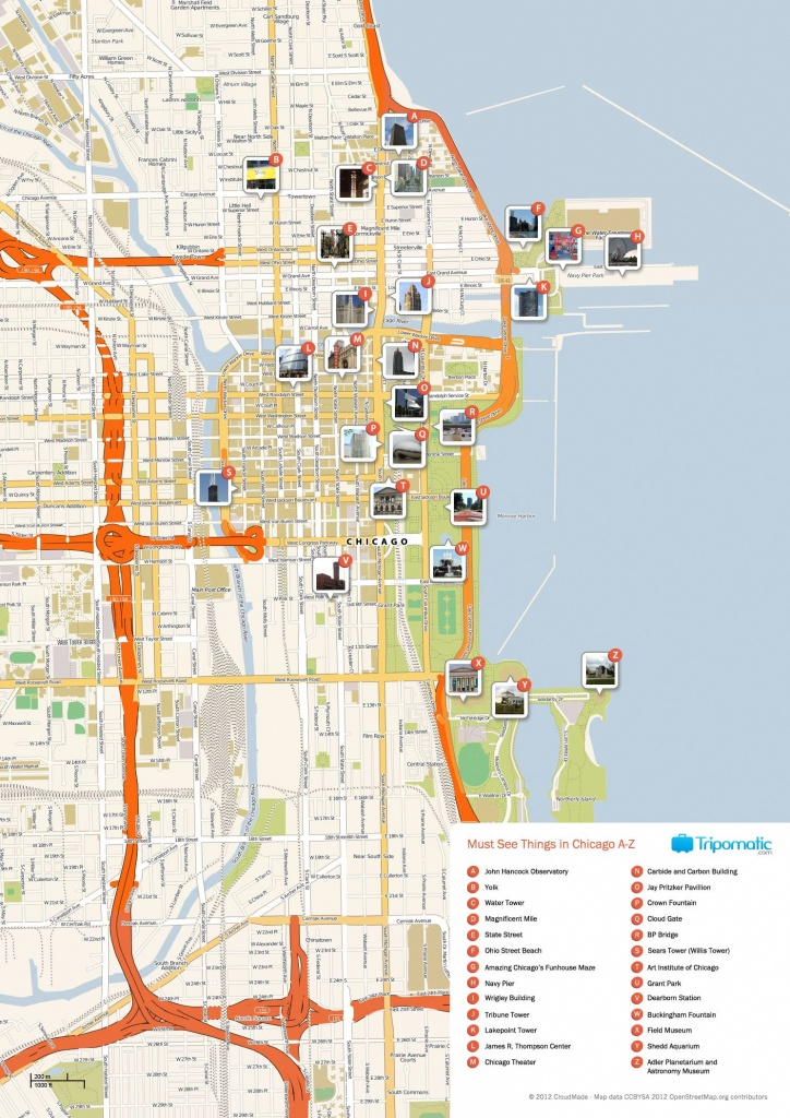 Free Printable Map Of Chicago Attractions.   Free Tourist Maps - Map Of Chicago Attractions Printable