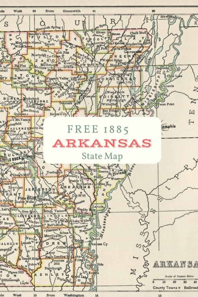 Free Printable Old Map Of Arkansas From 1885. #map #usa | Maps And - Printable Old Maps