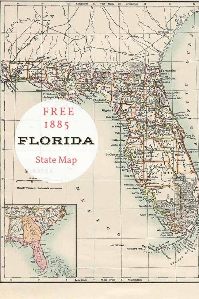Free Printable Old Map Of Florida From 1885. #map #usa | Maps And - Printable Map Of Florida