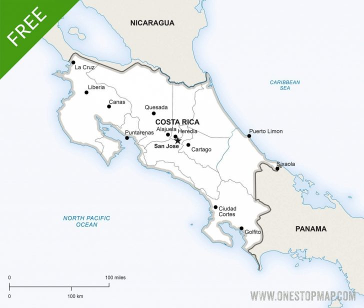 Free Printable Map Of Costa Rica
