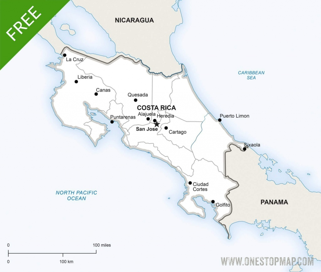 Free Vector Map Of Costa Rica Political   One Stop Map - Printable Map Of Costa Rica