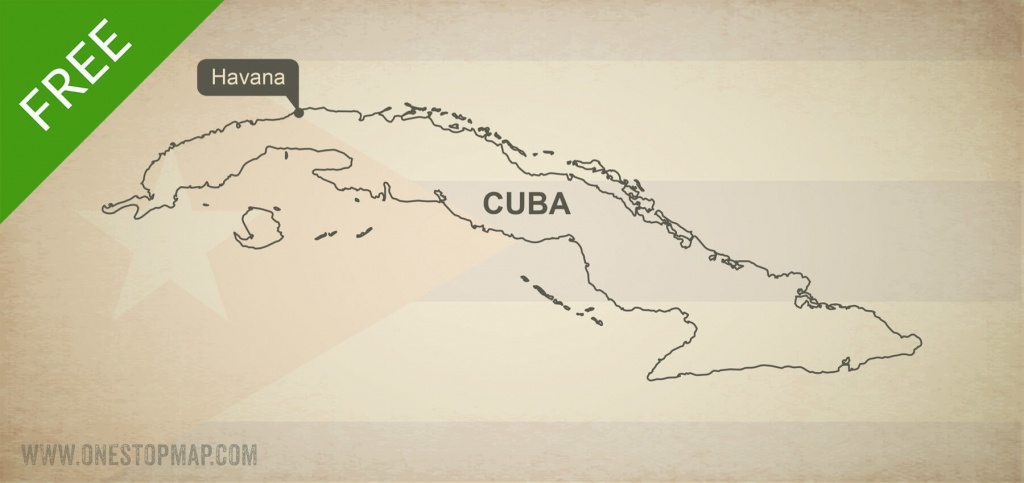 Free Vector Map Of Cuba Outline | One Stop Map - Printable Outline Map Of Cuba